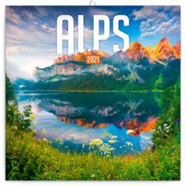 Poznámkový kalendář Alpy 2021, 30 × 30 cm