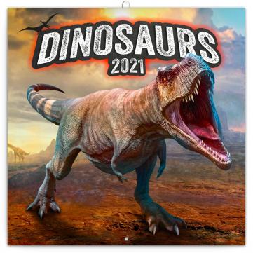 Poznámkový kalendář Dinosauři 2021, 30 × 30 cm