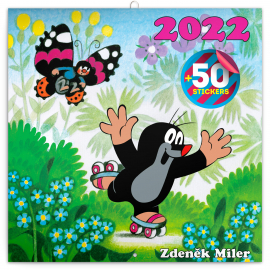 Poznámkový kalendář Krteček 2022, s 50 samolepkami, 30 × 30 cm